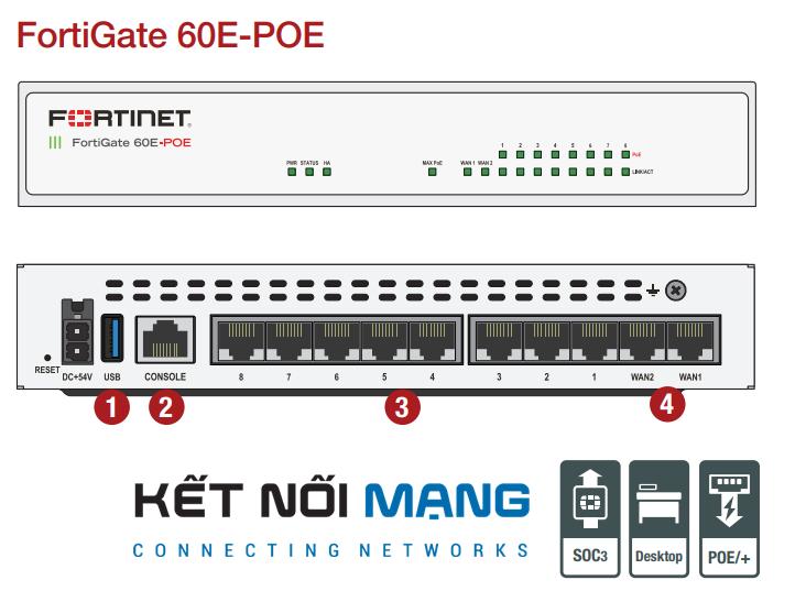 Thiết bị bảo vệ mạng Fortinet FortiGate FG-60E-POE-BDL